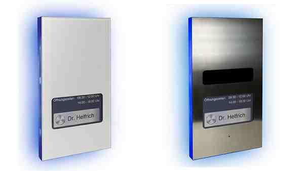links: DoorLine Pro exclusive Color, rechts: DoorLine Pro exclusive Steel. Bildnachweis: Telegärtner
