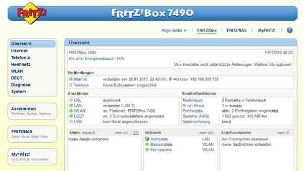 AVM bleibt dem Design der Benutzeroberfläche (hier FRITZ!OS 6.20) treu. FRITZ!Box-Anwender, die bereits ein Vorgängermodell im Einsatz hatten, finden sich also sofort zurecht.
